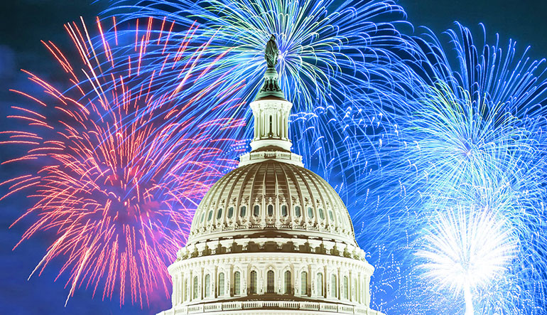 Fireworks over the capitol in Washington DC.