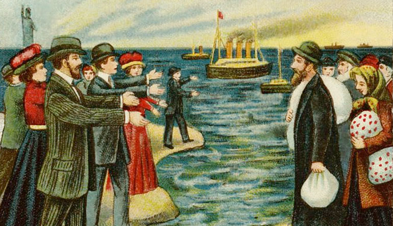 Offset color lithograph postcard shows Jewish Americans welcoming Jews immigrating from Russia to America.