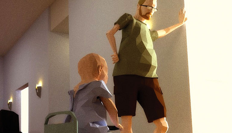 "Concept Art featuring Ryan Green and his son Joel from the video game ""That Dragon, Cancer."""