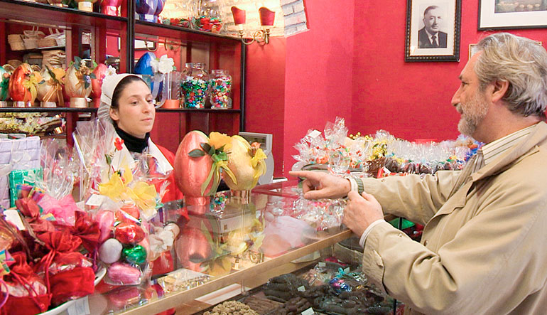 Man purchasing Easter candy.