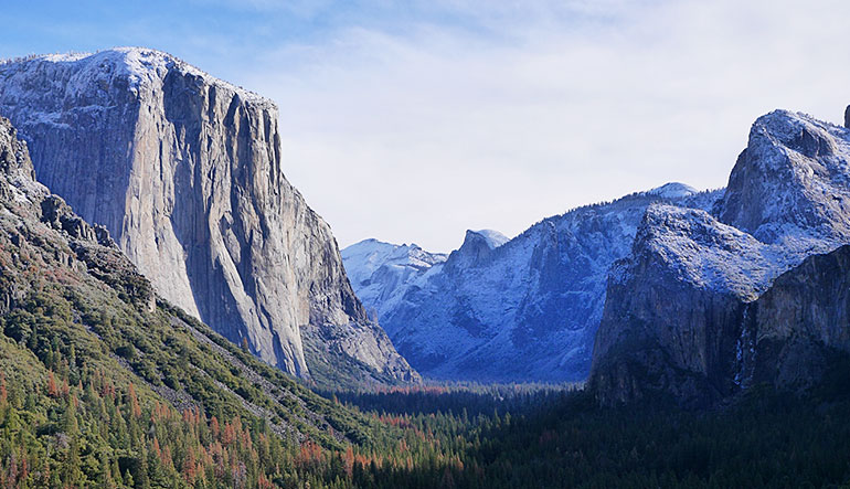 The first snow of winter coats El Capitan and the surrounding mountains.-