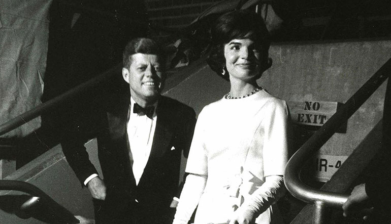President and Mrs. Kennedy at the pre-inaugural gala at the National Armory, January 19, 1961.