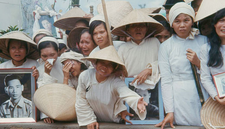 Mass funeral for South Vietnamese killed by Viet Cong in Hue during the Tet Offensive. October 1969.