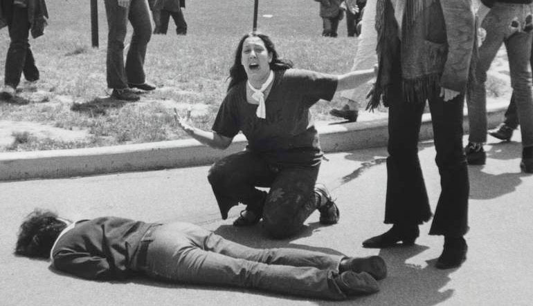 Mary Ann Vecchio kneels over the body of fellow student Jeffrey Miller, who was killed by Ohio National Guard troops during an antiwar demonstration at Kent State University.