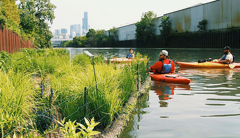 Kayakers on the Chicago River.