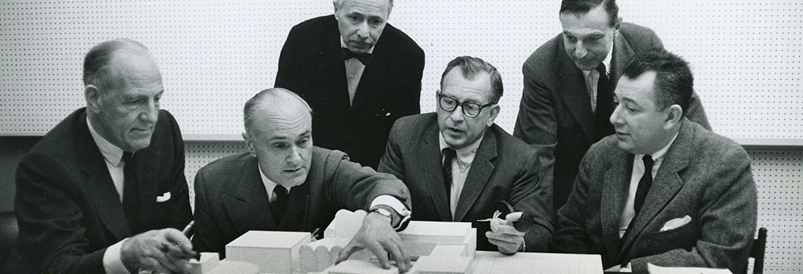 Architects  (Wallace K. Harrison, Philip Johnson, Pietro Belluschi, Eero Saarinen, Max Abramovitz, Gordon Bunshaft)