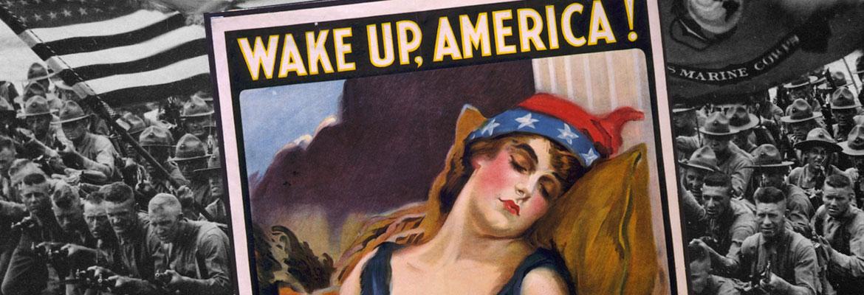 Marines and a propaganda poster.