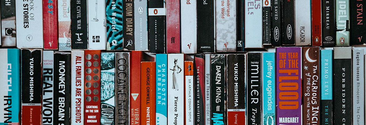 Book spines galore.