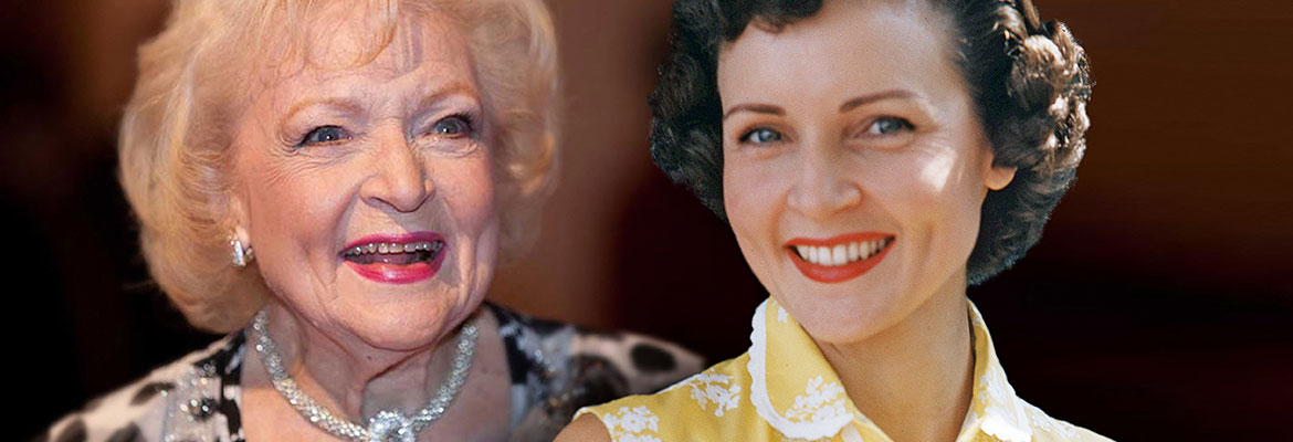 Composite of Betty White recently and in the early 1950s.