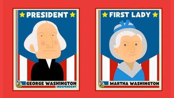 George and Martha Washington trading cards.