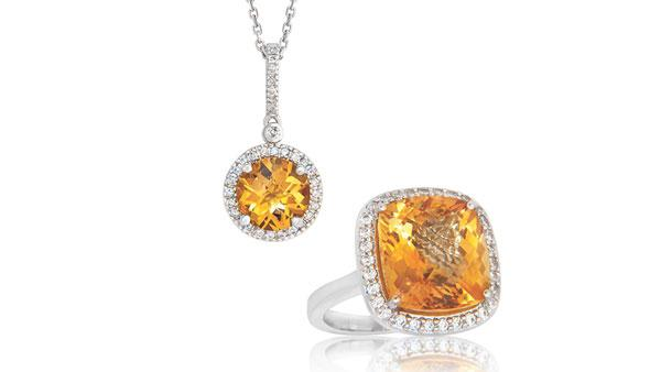 Citrine and diamond pendant and ring