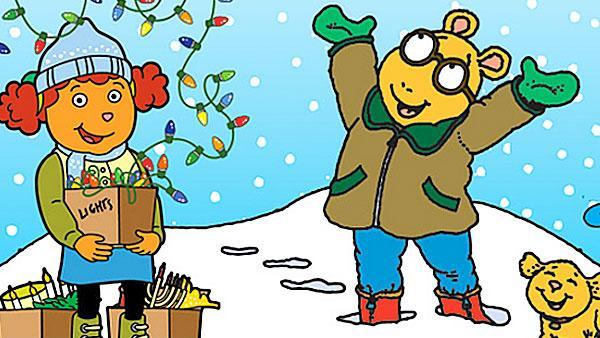 Arthur and friends celebrating in the snow.