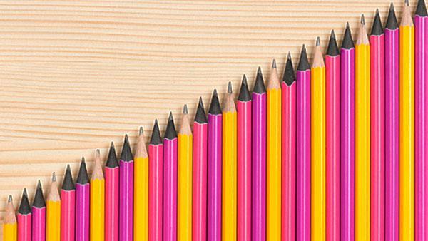 Pencils in a pattern.
