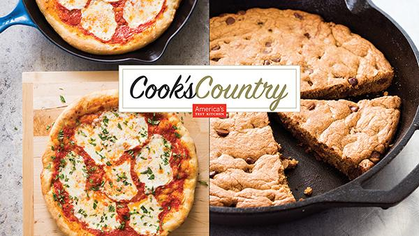 Skillet Pizza and Chocolate Chip Cookie from Cook's Country. Photos: Joe Keller (left); Daniel J. Van Ackere