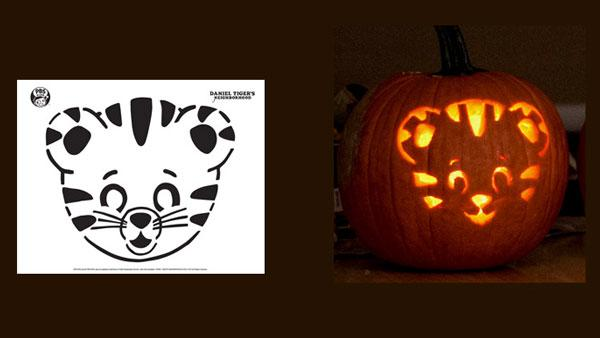 Daniel Tiger Pumpkin template and carved pumpkin