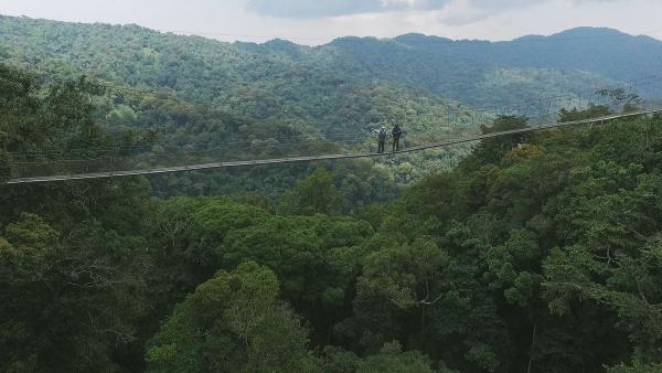 Peter Greenberg and Rwandan President Paul Kagame above Nyungwe National Park