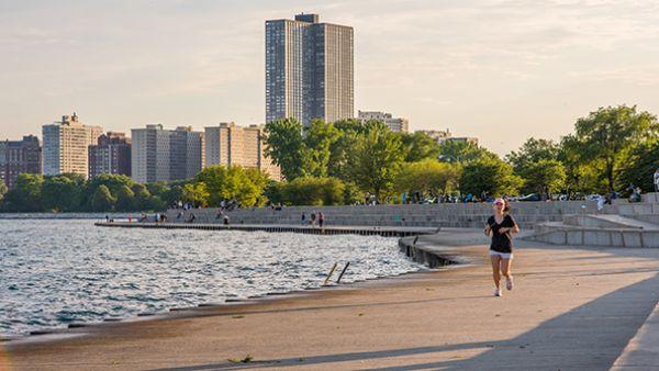 A jogger on Lake Michigan