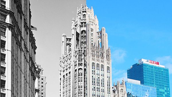 The Tribune Tower in Chicago today and in the past