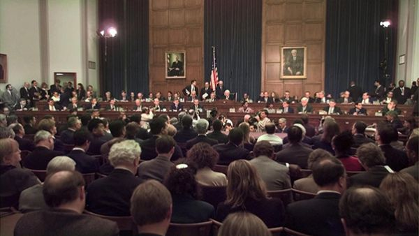 In this Nov. 19, 1998 file photo, House Judiciary Committee Chairman Rep. Henry Hyde, R-Illinois, presides over the committee's impeachment hearing for President Bill Clinton, on Capitol Hill in Washington. (AP Photo / Joe Marquette, File)