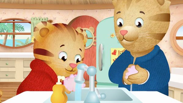 Daniel Tiger washing his hands.