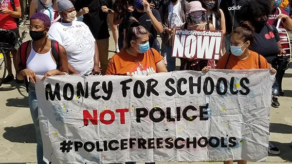 Youth activists organized a peaceful march to Mayor Lori Lightfoot's home Thursday to demand the removal of resource officers from Chicago Public Schools. (Matt Masterson / WTTW News)