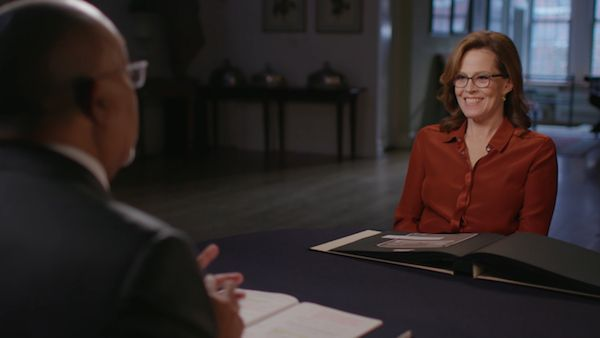 Sigourney Weaver with Henry Louis Gates, Jr. on 'Finding Your Roots.' Photo: McGee Media
