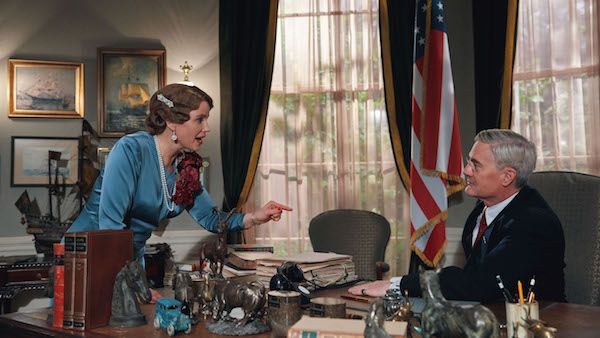 Sofia Helin as Crown Princess Märtha and Kyle MacLachlan as President Franklin D. Roosevelt.
