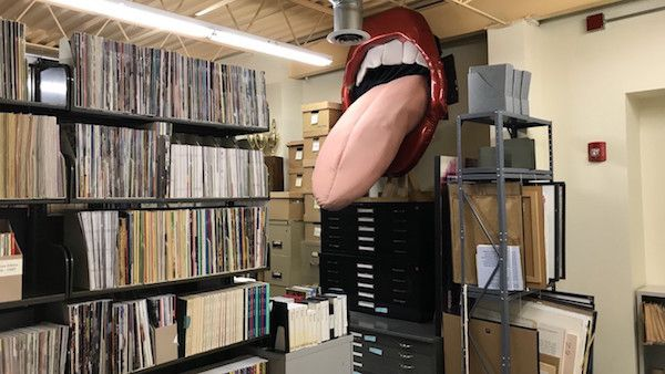 An oversized mouth with tongue sticking out from the gay bar Carol's Speakeasy is now found at the Gerber/Hart Library and Archives. Photo: Daniel Hautzinger/WTTW
