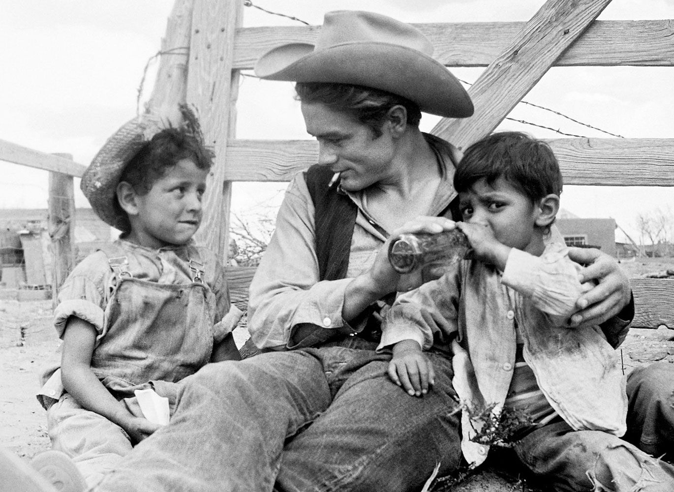 James Dean with two local boys.