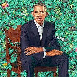 """""""Barack Obama"""" by Kehinde Wiley, oil on canvas, 2018."""