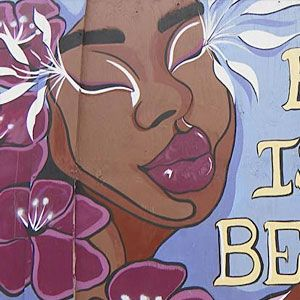 """Black is beautiful"" mural."