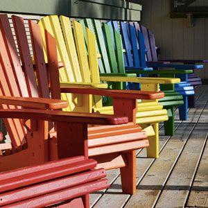 Colorful Adirondack chairs.