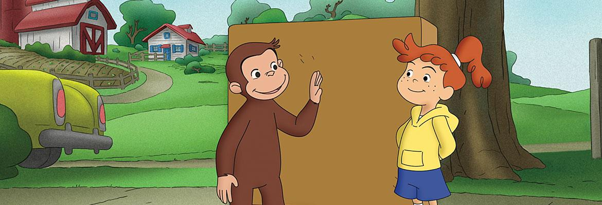Curious George, his friend, and a large box.