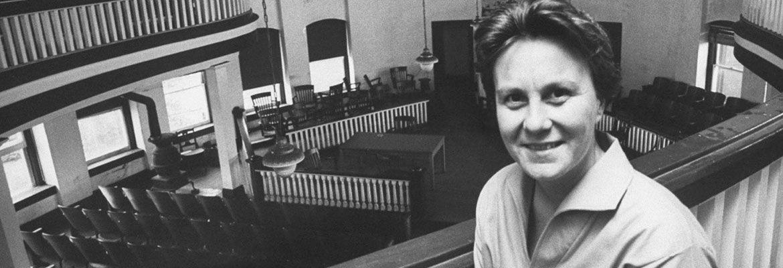 Harper Lee in a courtroom.