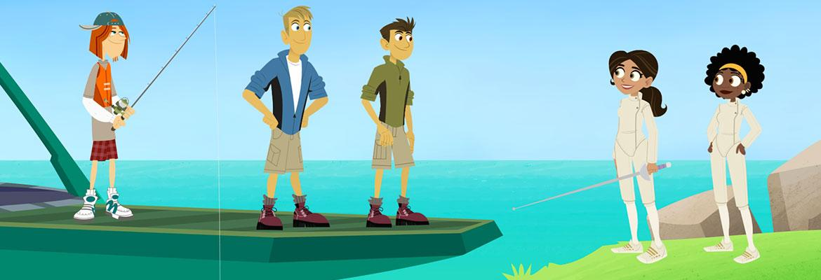 The Kratts fishing and fencing.